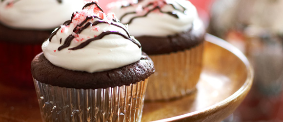 Chocolate-Candy Cane Cupcakes