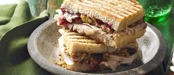 Leftover Turkey & Stuffing Panini