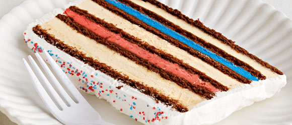 Red, White and Blue Ice Cream Cake