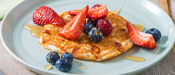 Apple, Berries and Cheese Pancakes