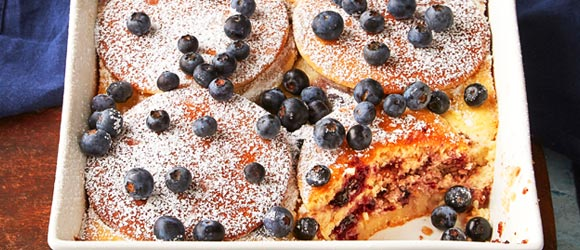 Blueberry-Lemon Ricotta Pancake Bake