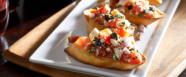Bruschetta with Basil, Tomato and Feta