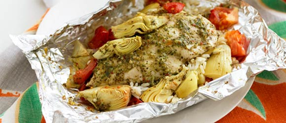 Foil-Pack Chicken & Grilled Artichoke Dinner