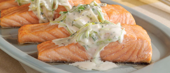 Salmon with Leek and Cream Sauce