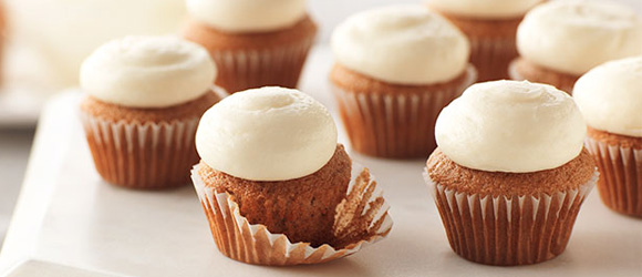 Bite-Size Carrot Cake Cupcakes with PHILADELPHIA Cream Cheese Frosting