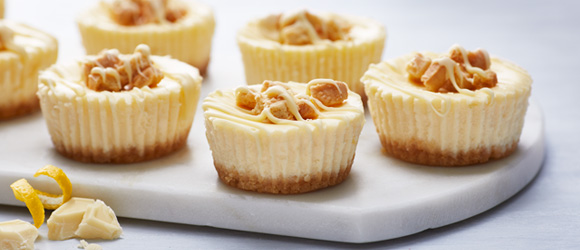 Lemon-White Chocolate Mini Cheesecakes