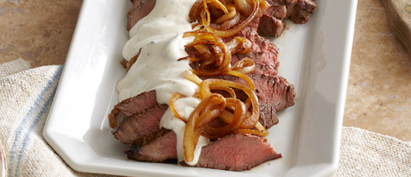 Smothered Sirloin Steak in Parmesan-Peppercorn Sauce