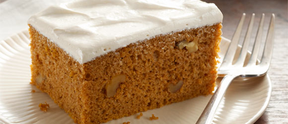 Pumpkin Spice Cake with Brown Sugar Frosting