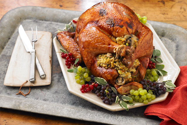 Brined-Sage Turkey with Mushroom Stuffing