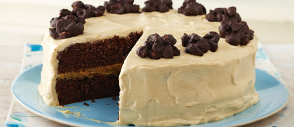 Chocolate Cluster-Peanut Butter Cake