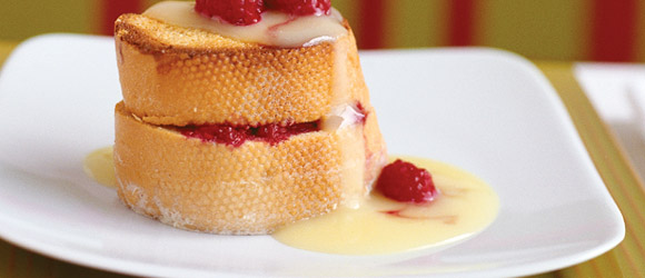 Raspberry-Stuffed French Toast with Custard Sauce