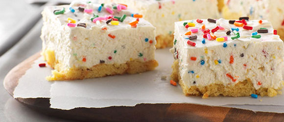 Birthday Cake No-Bake Cheesecake Bars
