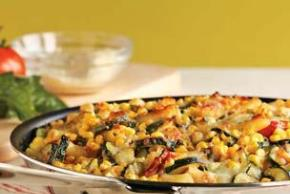 Baked Penne with Corn, Zucchini, and Basil